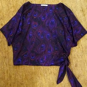 Gorgeous jewel tone batwing blouse w tie